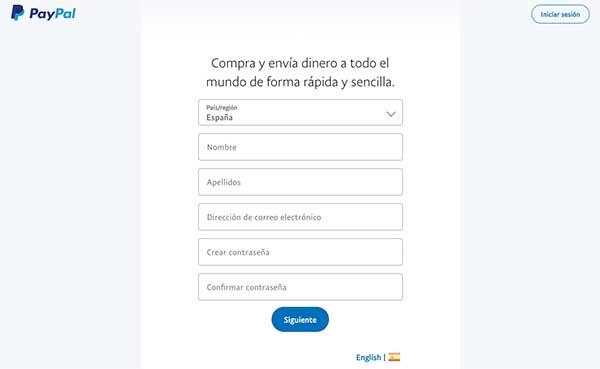Formulario para crear cuenta de Paypal