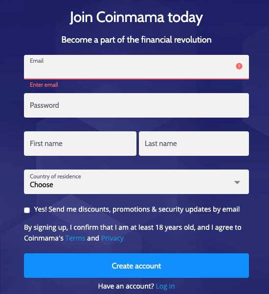 Registro en Coinmama
